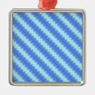 Aqua Blue Knit Crochet Stripe Texture Pattern Metal Ornament