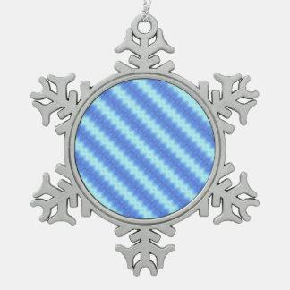 Aqua Blue Knit Crochet Stripe Texture Pattern Snowflake Pewter Christmas Ornament
