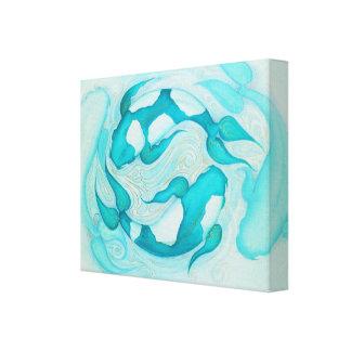 Aqua Blue Koi Carp Relaxing Zen Painting Canvas Print