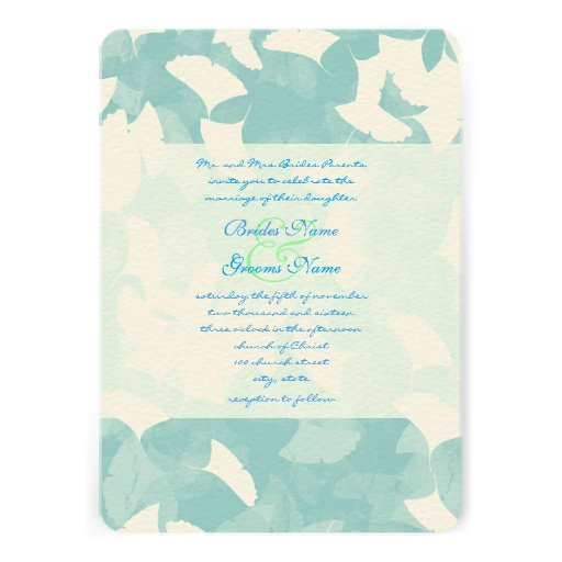 invitation for wedding aqua blue leaves wedding invitation 5 quot x 7 quot invitation 5165