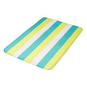 Aqua Blue Lemon Yellow And White Stripes Bath Mat