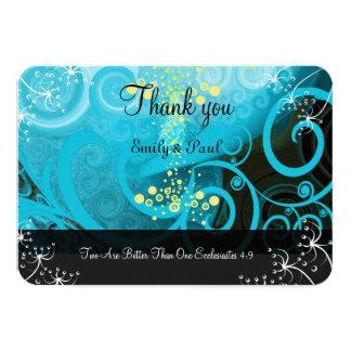 Aqua Blue Lemon Yellow Calla Lily Flower- Card