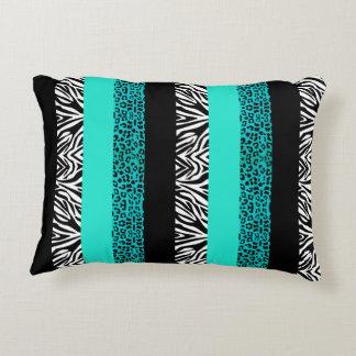 Aqua Blue Leopard and Zebra Animal Print Accent Pillow