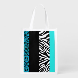 Aqua Blue Leopard and Zebra Animal Print Grocery Bag