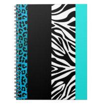 Aqua Blue Leopard and Zebra Animal Print Notebook