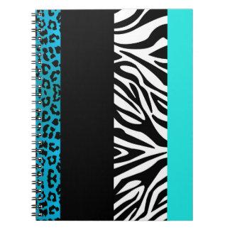Aqua Blue Leopard and Zebra Animal Print Spiral Notebook
