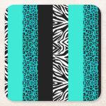 Aqua Blue Leopard and Zebra Animal Print Square Paper Coaster