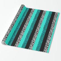Aqua Blue Leopard and Zebra Animal Print Wrapping Paper