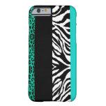 Aqua Blue Leopard and Zebra Custom Animal iPhone 6 Case