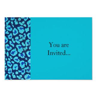 Aqua Blue Leopard Spots Ultrasuede Look 5x7 Paper Invitation Card