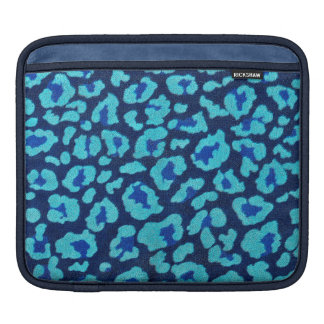 Aqua Blue Leopard Spots Ultrasuede Look Sleeve For iPads