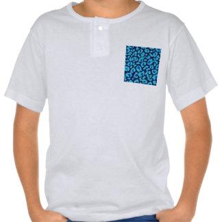 Aqua Blue Leopard Spots Ultrasuede Look Shirt