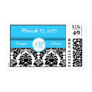 Aqua Blue & Lime Damask Wedding Stamp