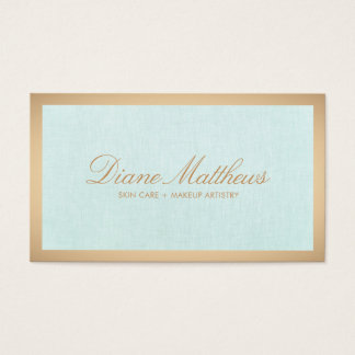 Aqua Blue Linen , Rose Gold Border Skin Care Spa Business Card