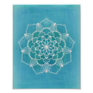 Aqua Blue Mandala Flower Geometric Circle Art Poster