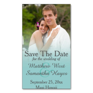 Aqua Blue Mist Photo Wedding Save The Date Magnetic Business Cards (Pack Of 25)