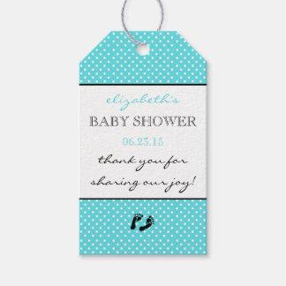 Aqua Blue Modern Baby Shower Thank You Gift Tags
