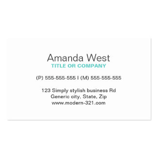 Aqua blue modern generic simple elegant personal Double-Sided standard business cards (Pack of 100)
