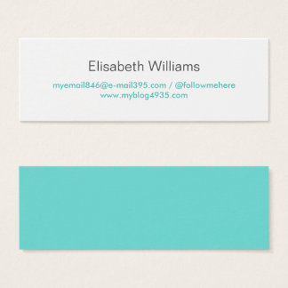 Aqua blue modern generic simple elegant personal mini business card