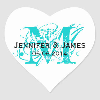Aqua Blue Monogram Wedding Stickers Heart Shape