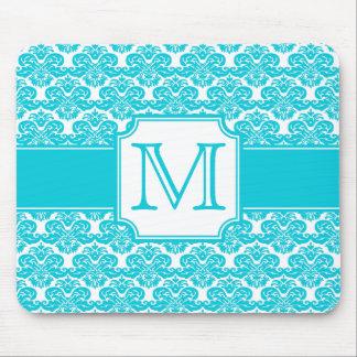 Aqua Blue Monogrammed Damask Mousepad