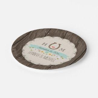 Aqua Blue Monogrammed Horseshoe Heart Wedding Paper Plate