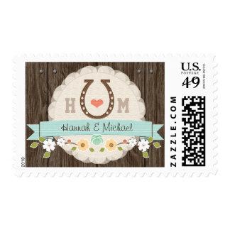 Aqua Blue Monogrammed Horseshoe Wedding Postage Stamp