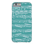 Aqua Blue music notes Barely There iPhone 6 Case