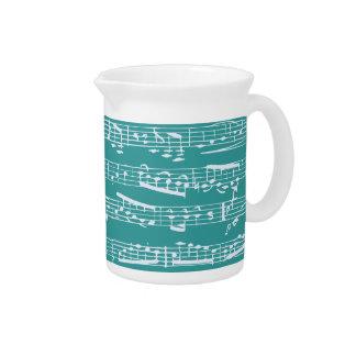 Aqua Blue music notes Beverage Pitchers