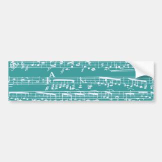 Aqua Blue music notes Car Bumper Sticker
