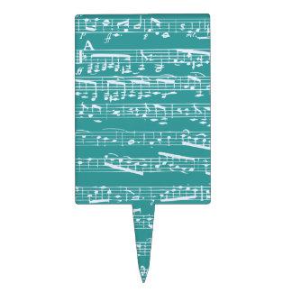 Aqua Blue music notes Cake Picks