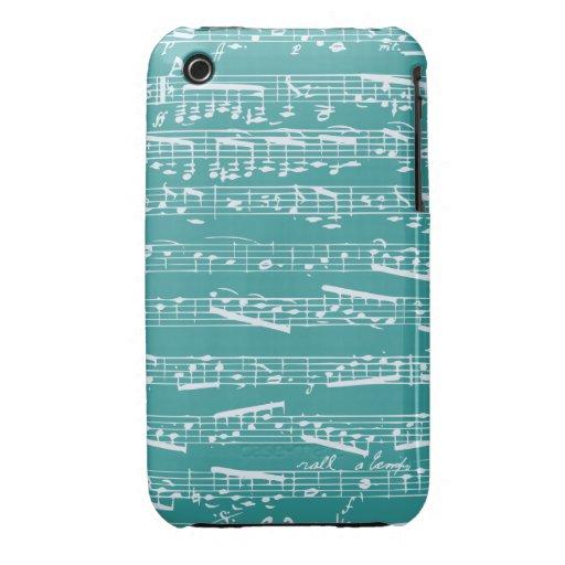 Aqua Blue music notes Case-Mate iPhone 3 Case