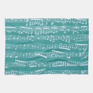 Aqua Blue music notes Hand Towel