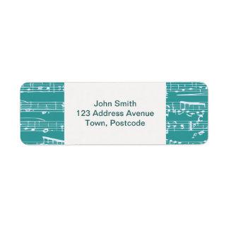 Aqua Blue music notes Label