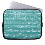 Aqua Blue music notes Laptop Sleeve