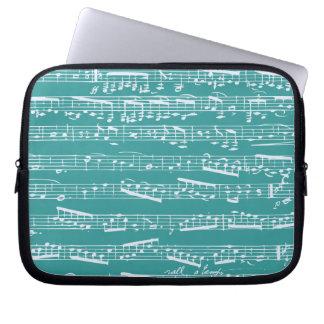 Aqua Blue music notes Computer Sleeve