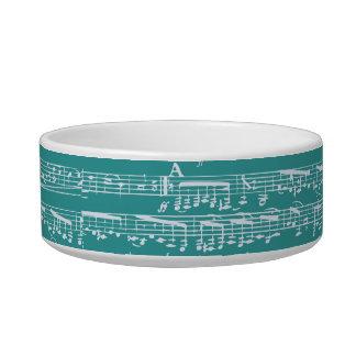 Aqua Blue music notes Pet Food Bowls