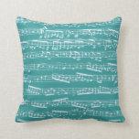 Aqua Blue music notes Pillow