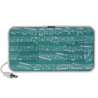 Aqua Blue music notes Travel Speakers