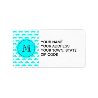 Aqua Blue Mustache Pattern, Aqua Black Monogram Address Label