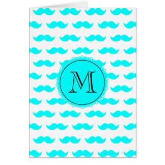 Aqua Blue Mustache Pattern, Aqua Black Monogram Cards
