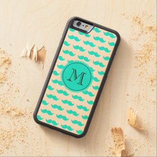 Aqua Blue Mustache Pattern, Aqua Black Monogram Carved Maple iPhone 6 Bumper Case