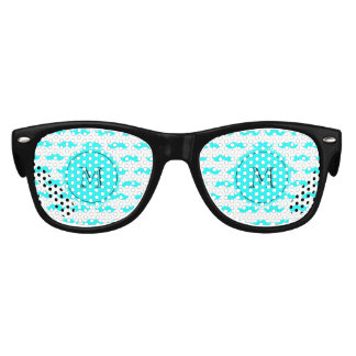 Aqua Blue Mustache Pattern, Aqua Black Monogram Kids Sunglasses