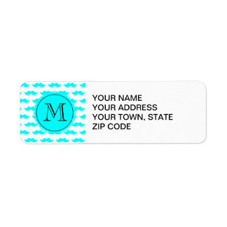 Aqua Blue Mustache Pattern, Aqua Black Monogram Custom Return Address Label