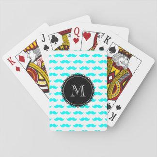 Aqua Blue Mustache Pattern, Black Monogram Deck Of Cards