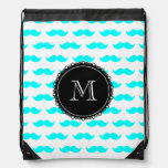 Aqua Blue Mustache Pattern, Black Monogram Drawstring Bag