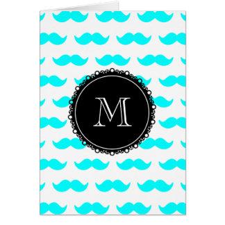 Aqua Blue Mustache Pattern, Black White Monogram Cards