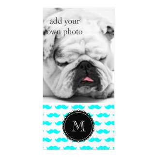 Aqua Blue Mustache Pattern, Black White Monogram Card