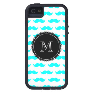 Aqua Blue Mustache Pattern, Black White Monogram Case For iPhone SE/5/5s
