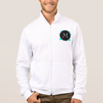 Aqua Blue Mustache Pattern, Black White Monogram Jacket